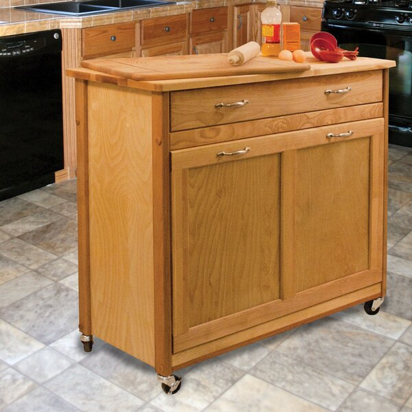 Triche Pull Out Trash Kitchen Island with Butcher Block by Millwood Pines