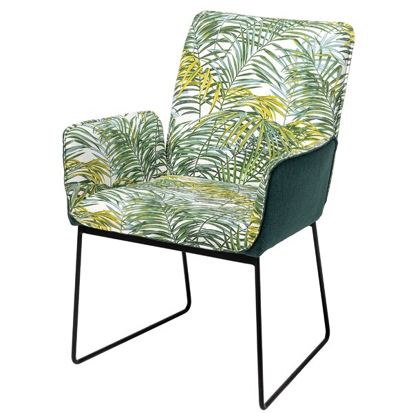 Owens Palm Print Upholstered Armchair (Set of 2) by Bayou Breeze