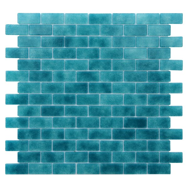 Quartz 0.75 x 1.63 Glass Mosaic Tile in Turquoise/Blue by Kellani