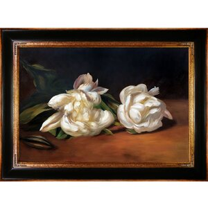 Branch of White Peonies with Pruning Shears by Edouard Manet Framed Painting Print on Wrapped Canvas by Tori Home