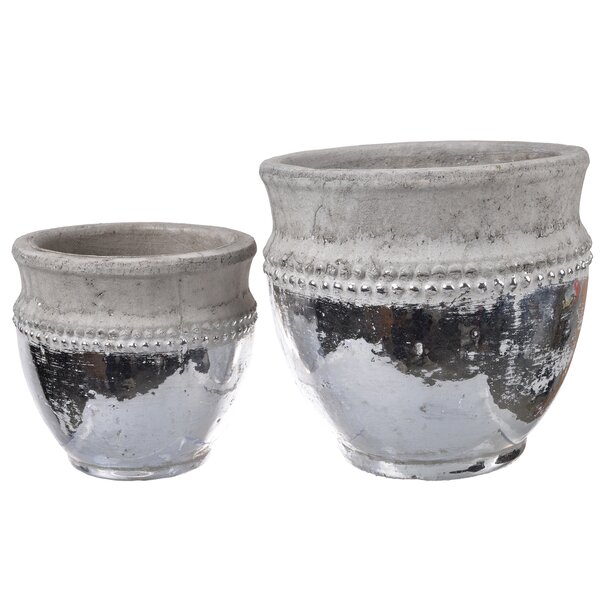 Natural 2 Piece Ceramic Pot Planter Set by Alcott Hill