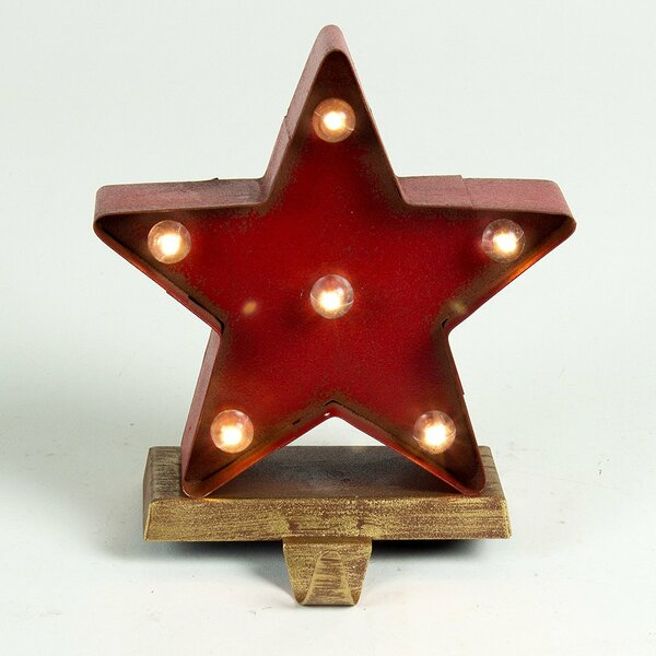 Lighted Marquee Star Christmas Stocking Holder 6 Light Lamp by Glitzhome