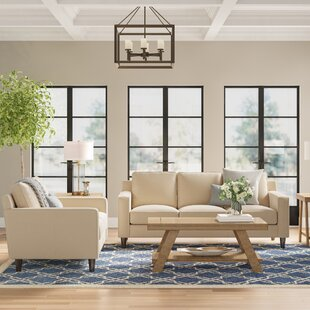 Nalston 2 Piece Genuine Leather Living Room Set by Three Posts™