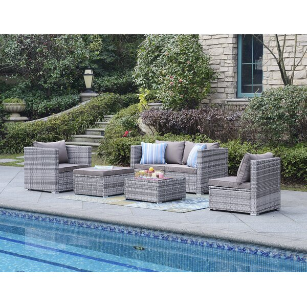 Augusta 6 Piece Sectional Seating Group with Cushions by Beachcrest Home