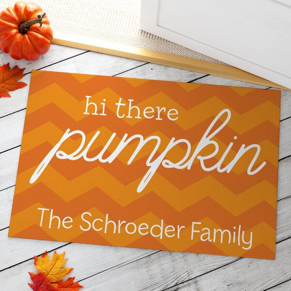 Almaguer Hi There Pumpkin Personalized Doormat by The Holiday Aisle