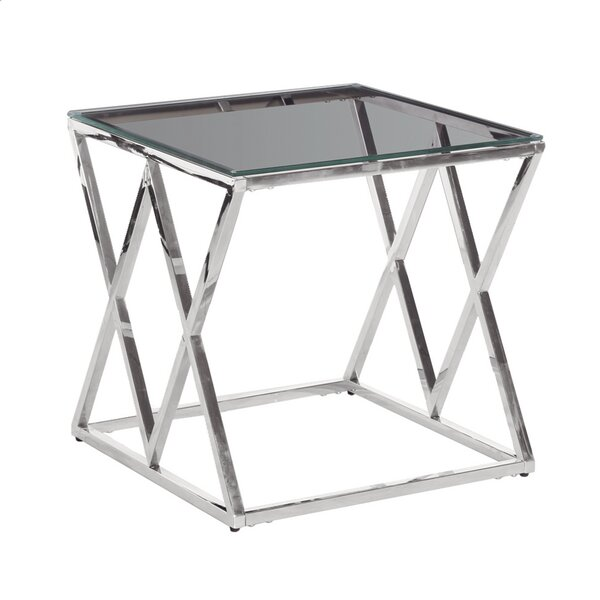 Cadnite Metal/Glass Diamond Coffee Table By Orren Ellis