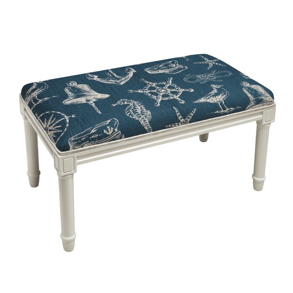 West Line Nautical Wood Bench by Breakwater Bay