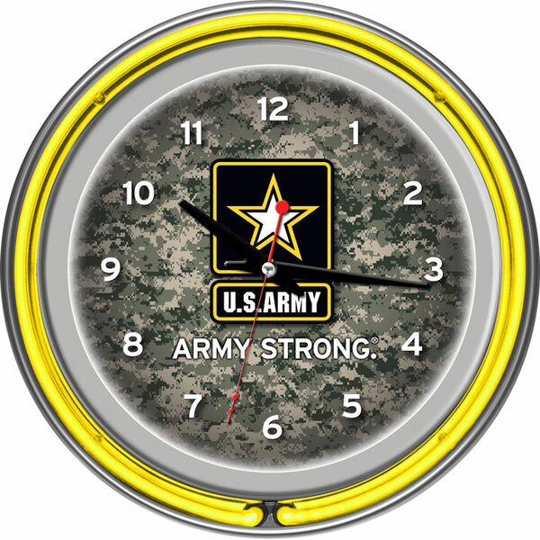 U.S Army 14.5 Digital Double Ring Neon Wall Clock by Trademark Global