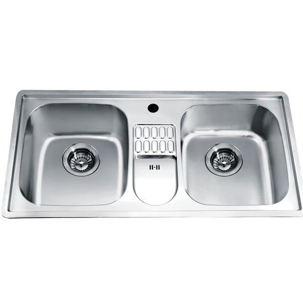 38.75 L x 19.13 W Top Mount Equal Double Bowl Kitchen Sink by Dawn USA