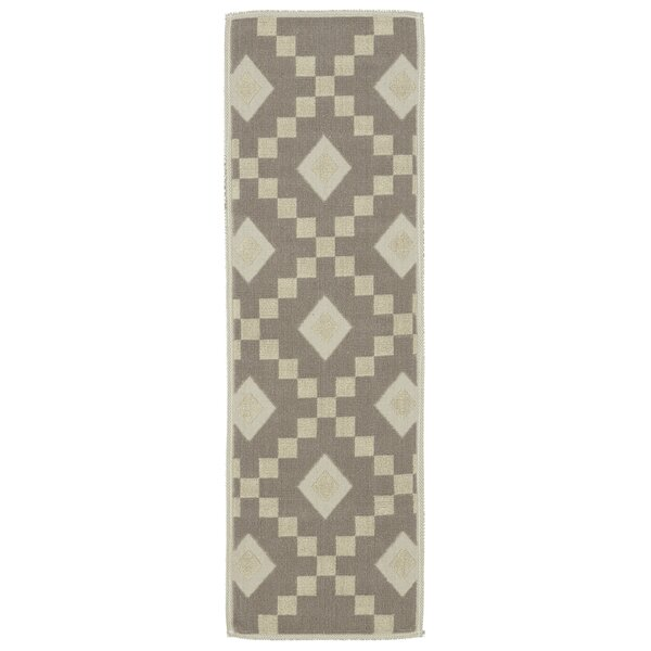 Heim Nature Cotton Diamond Trellis Brown/Cream Area Rug by Wrought Studio