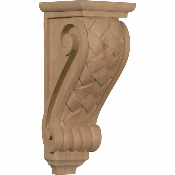 14H x 5W x 7D Large Basket Weave Corbel in Red Oak by Ekena Millwork