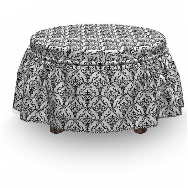 Review Damask Ornate Foliage 2 Piece Box Cushion Ottoman Slipcover Set