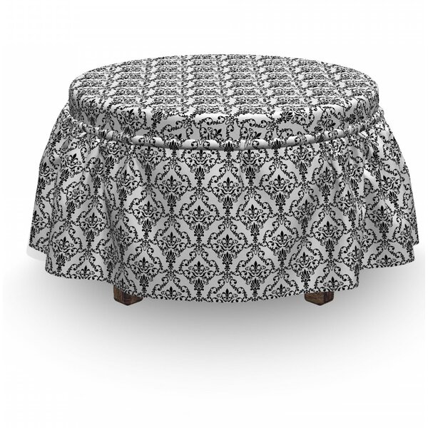 Buy Sale Damask Ornate Foliage 2 Piece Box Cushion Ottoman Slipcover Set