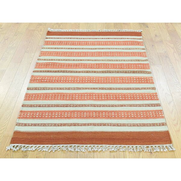 One-of-a-Kind Bedford Striped Reversible Handmade Kilim Wool Area Rug by Isabelline