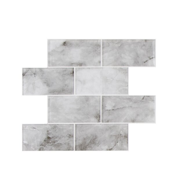 Ink Jet Series 3 x 6 Glass Mosaic Tile in Glossy Light Gray by WS Tiles