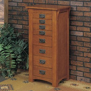 Mission Oak Jewelry Armoire with Mirror by Powell Furniture