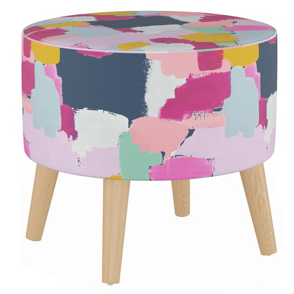 Button Round Ottoman with Splayed Legs by Wrought Studio