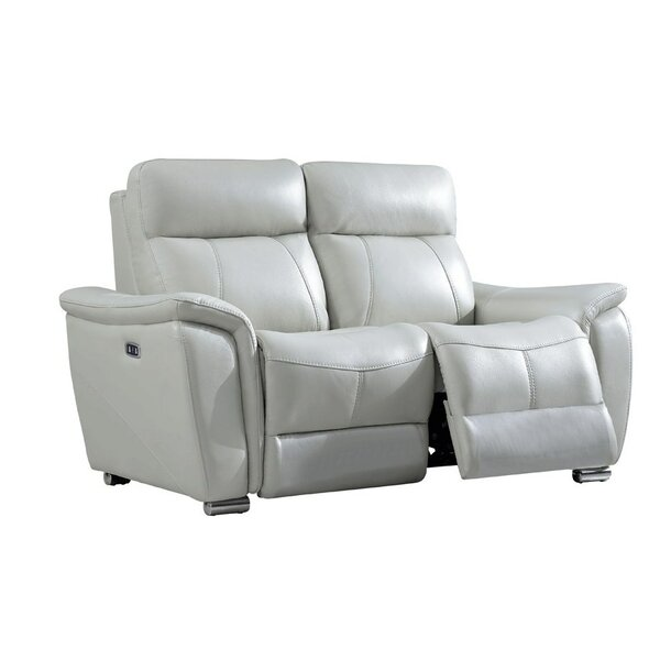 Meister Electric Leather Reclining Loveseat by Latitude Run