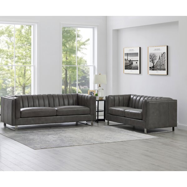 Walbourne 2 Piece Leather Living Room Set By Orren Ellis