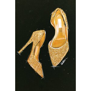 Jimmy Choo Glitter Painting Print on Wrapped Canvas by House of Hampton