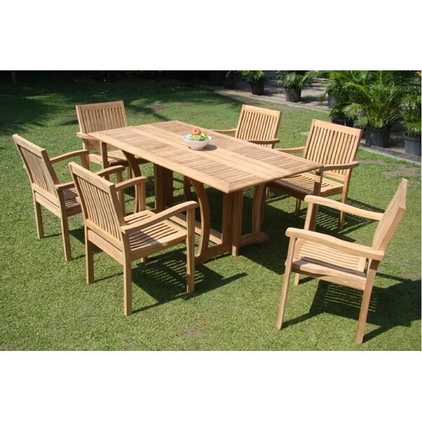 Romolo Luxurious 7 Piece Teak Dining Set by Rosecliff Heights