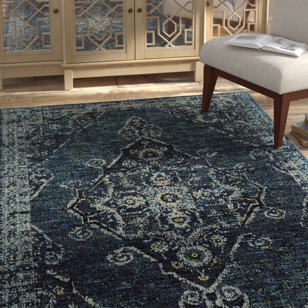 Tuma Medallion Blue Area Rug by Bungalow Rose