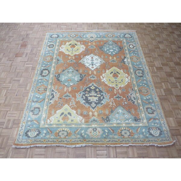 One-of-a-Kind Eladia Oushak Hand-Knotted Wool Salmon/Blue Area Rug by World Menagerie