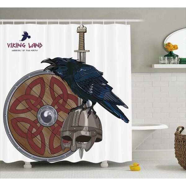 Viking Nordic War Army Design Shower Curtain by East Urban Home