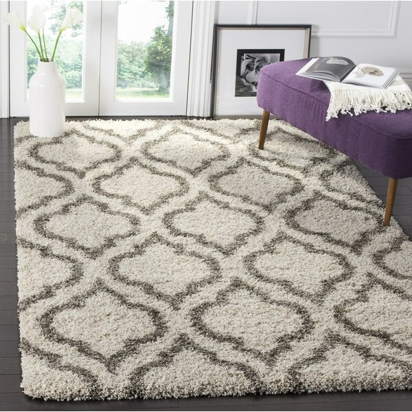 Melvin Shag Beige/Gray Area Rug by Charlton Home