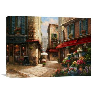 Flower Market Lane' by Han Chang Painting on Wrapped Canvas by Global Gallery