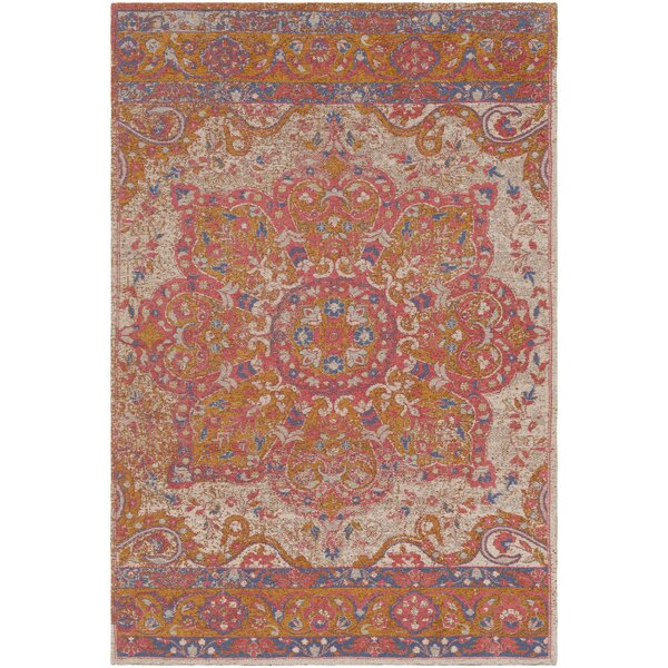Pelaez Hand-Woven Gold/Pink Area Rug by Bungalow Rose