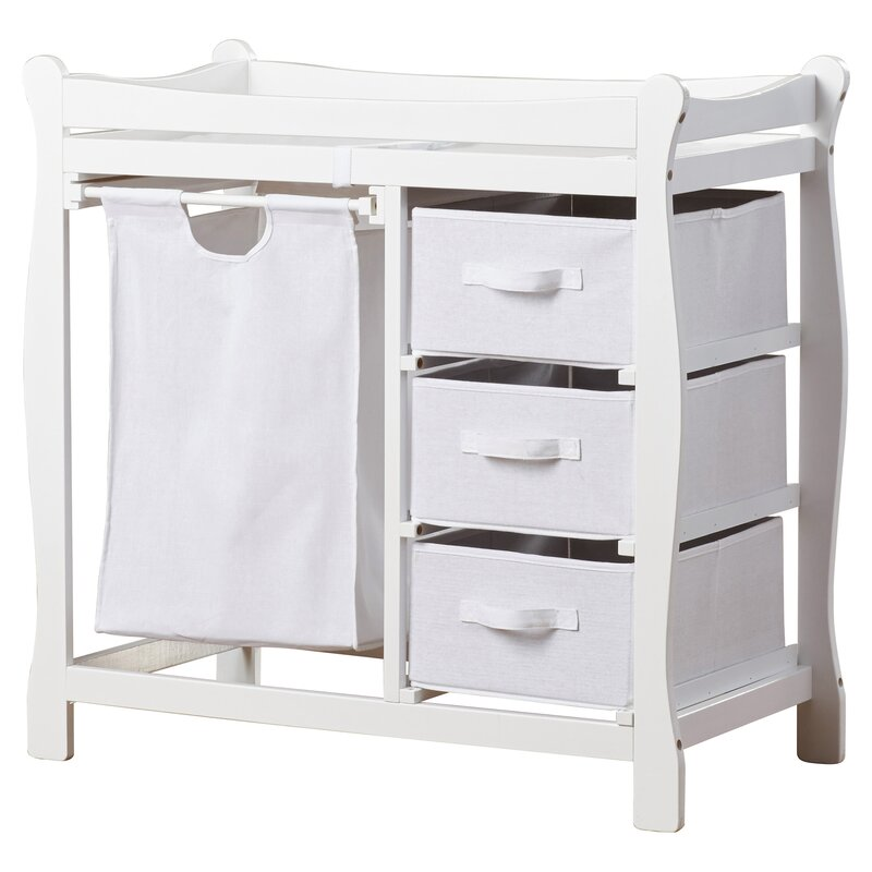 Ocean Alexander Sleigh Style Baby Changing Table With 3 Baskets And Hamper