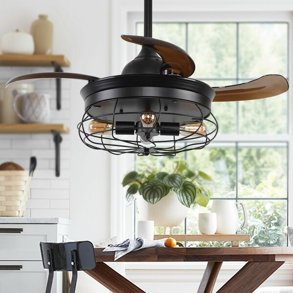 36.5 Belote Industrial 4 Blade Ceiling Fan with Remote by Williston Forge