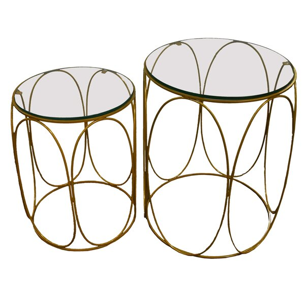 Naia 2 Piece Iron and Glass Top Accent Stool Set by Everly Quinn