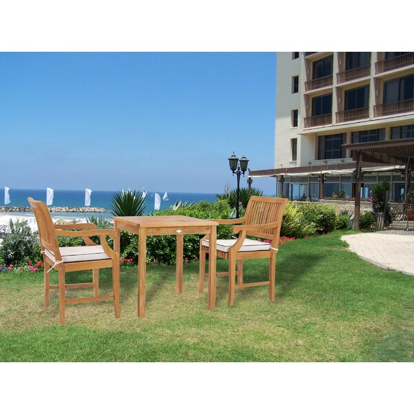 Dayne 3 Teak Bistro Set with Sunbrella Cushions by Bay Isle Home