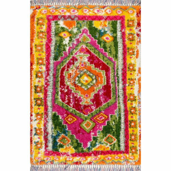Thierry Pink/Green Area Rug by Bungalow Rose