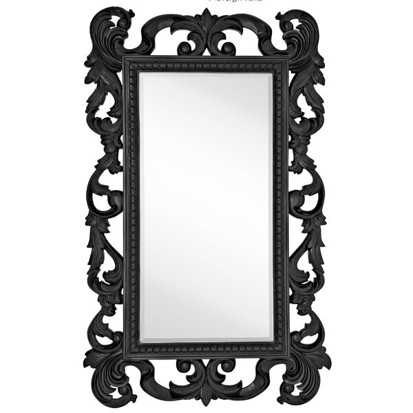Large Rectangular Traditional Black Lacquer Beveled Glass Antique Wall Mirror by Majestic Mirror