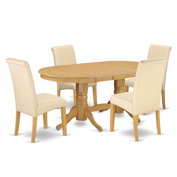 Paramus Oval Kitchen Table 5 Piece Extendable Solid Wood Dining Set by Charlton Home