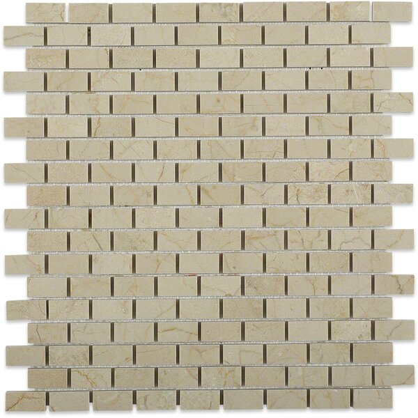 Bricks 1 x 2 Marble Mosaic Tile in Crema Marfil by Splashback Tile