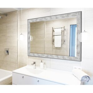 Scratched Wash White And Brushed Silver Trim Wall Mirror