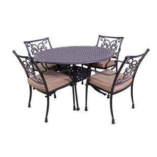 Elzada 5 Piece Sunbrella Dining Set with Cushions ByFleur De Lis Living