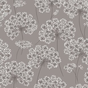 Floral botanical wallpaper youll love wayfair nu 18 x 205 angelica gray peel and stick wallpaper mightylinksfo