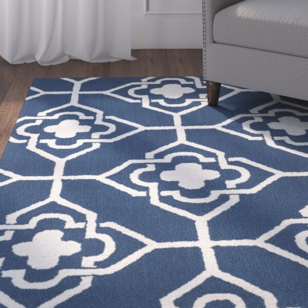 Albia Hand-Hooked Navy/Ivory Area Rug by Red Barrel Studio
