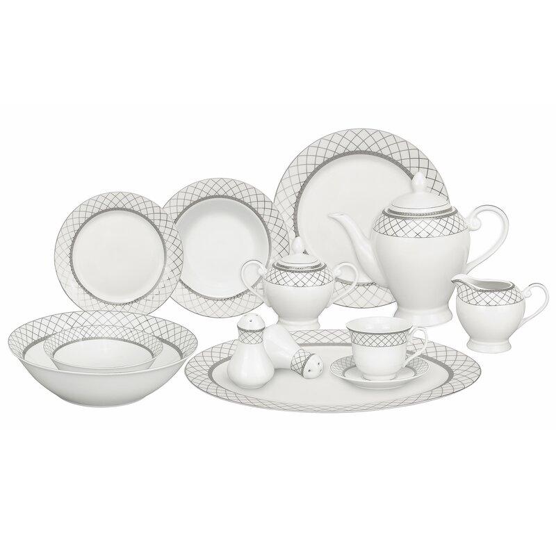 Verona Porcelain 57 Piece Dinnerware Set Service for 8  sc 1 st  Wayfair & Lorren Home Trends Verona Porcelain 57 Piece Dinnerware Set Service ...