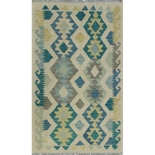 Corda Hand-Knotted Wool Gray/Blue Area Rug by Bungalow Rose