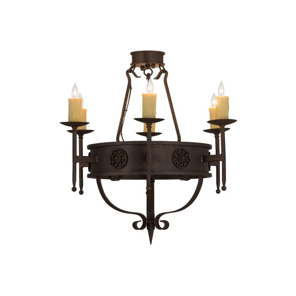 Walsall 6 - Light Candle Style Wagon Wheel Chandelier By Astoria Grand