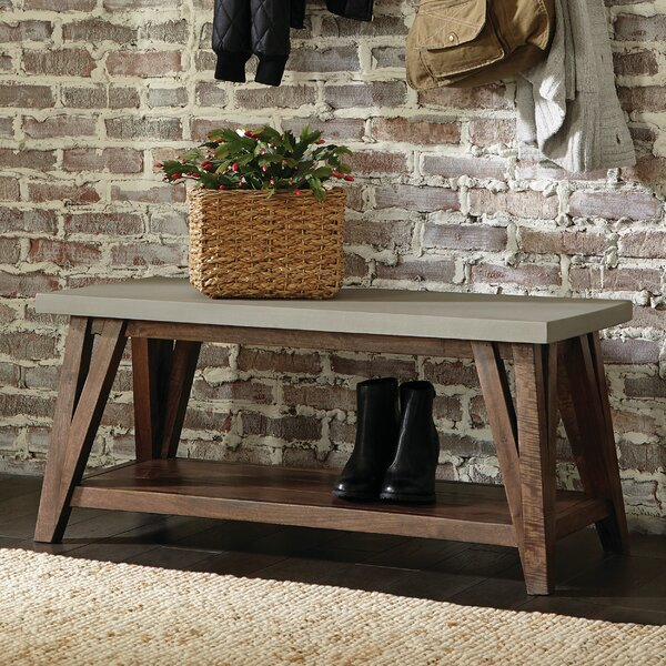 Crain Wood Shelves Storage Bench By Gracie Oaks