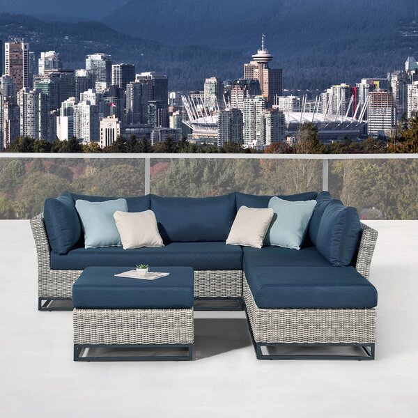 Clarence Patio 4 Piece Sectional Seating Group with Cushions by Martha Stewart