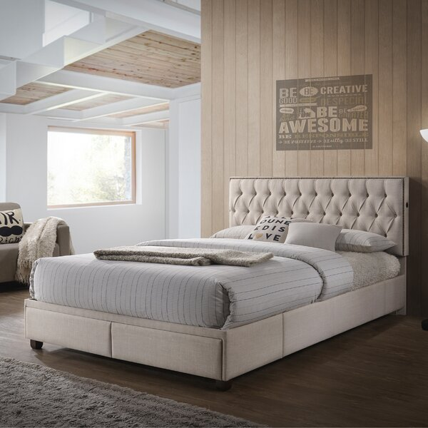 USB Charging Queen Upholstered Platform Bed by PRI