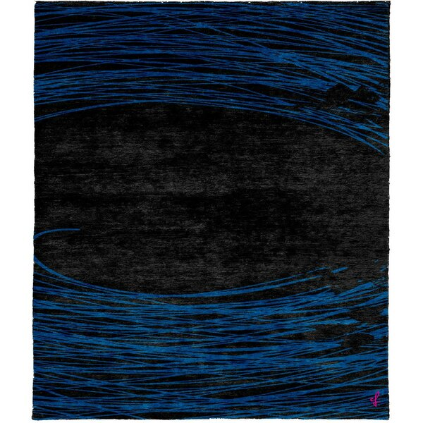 One-of-a-Kind Steephill Hand-Knotted Tibetan Black/Blue 6' Square Wool Area Rug